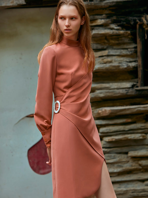 WRAPPED ASYMMETRIC STAND COLLAR DRESS