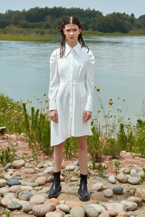 ASMMETRIC SHIRT DRESS - BLANCORE