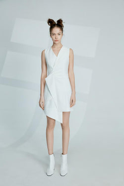 Asymmetric Blazer Ruching Dress - BLANCORE