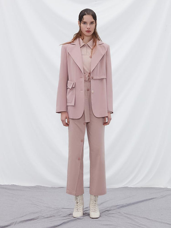 Asymmetric Blazer with Detachable Hem - BLANCORE