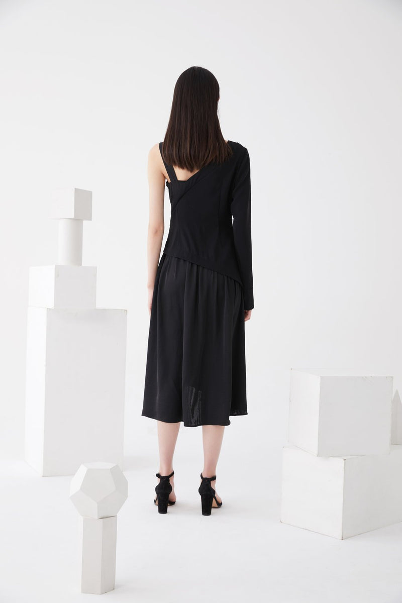 Asymmetric One Shoulder Ruching Dress - BLANCORE