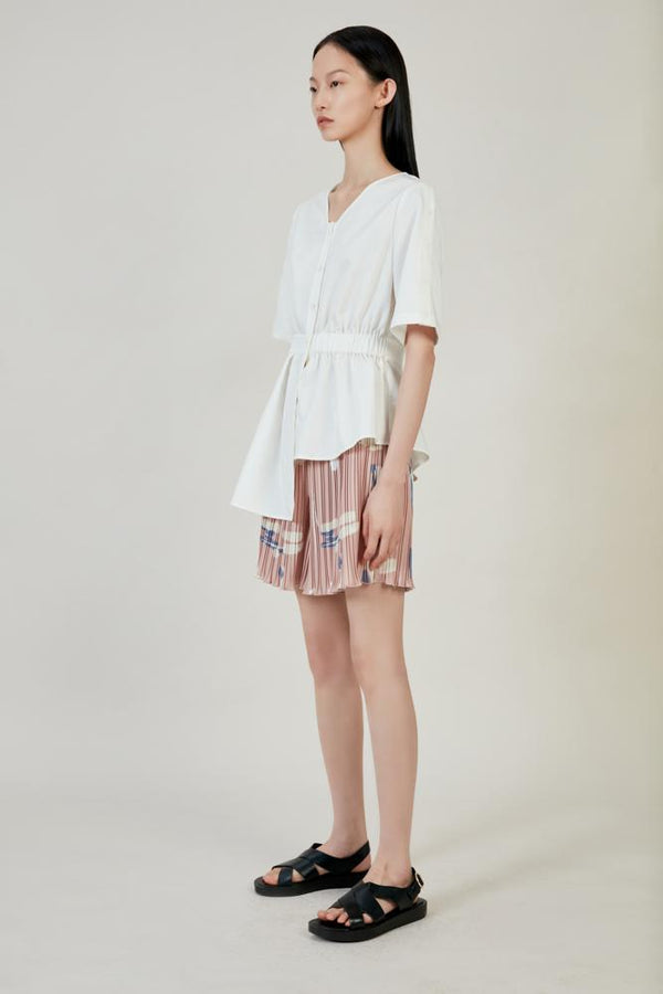 Asymmetric Ruching Shirt - BLANCORE