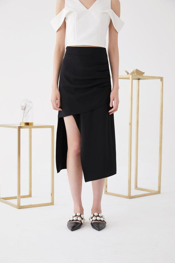 Asymmetric Ruching Skirt - BLANCORE