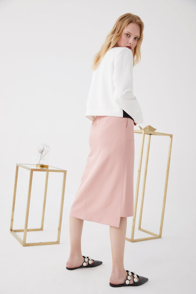 Asymmetric Split Skirt - BLANCORE