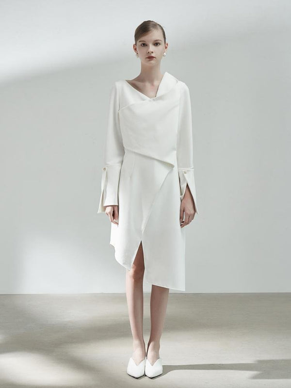 Asymmetrical 3-D Fold Dress - BLANCORE