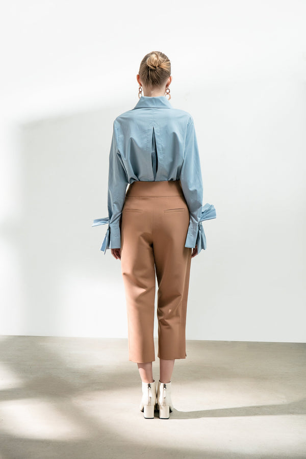 Asymmetrical Belt Cropped Trousers - BLANCORE
