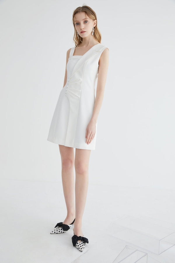 Asymmetrical Blazer Ruching Dress - BLANCORE