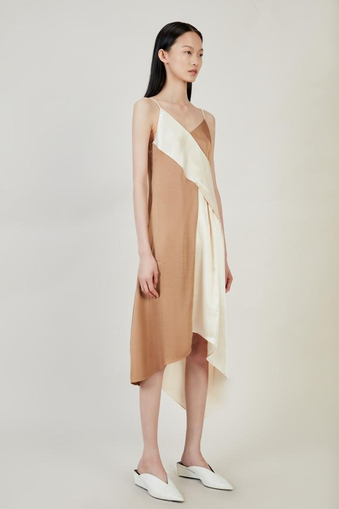 Asymmetrical Color Block Dress - BLANCORE