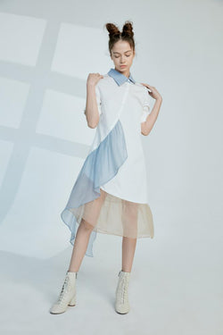 Asymmetrical Color Block Dress With Ruffle Sleeve - BLANCORE