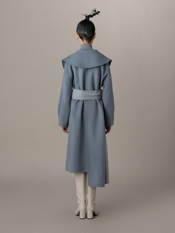 Asymmetrical Color Block Wool Coat - BLANCORE