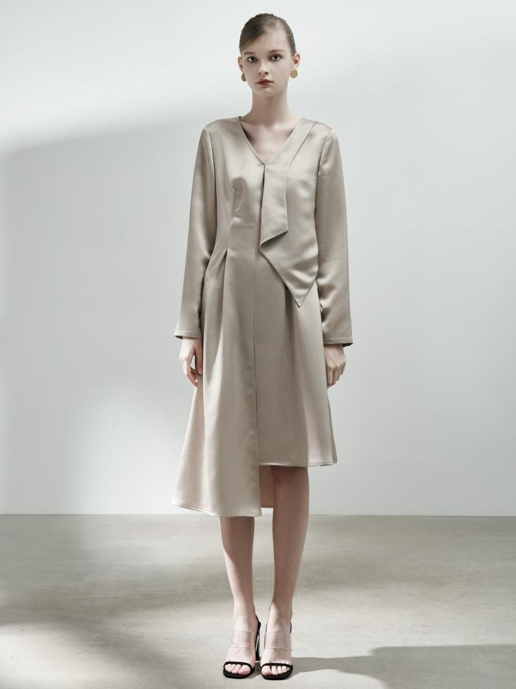Asymmetrical Dress with Fold Detail - BLANCORE