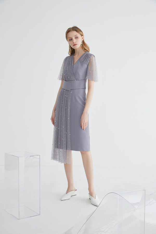 Asymmetrical Mesh Dress - BLANCORE