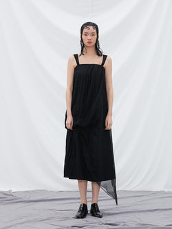 Asymmetrical Mesh Paneled Dress - BLANCORE