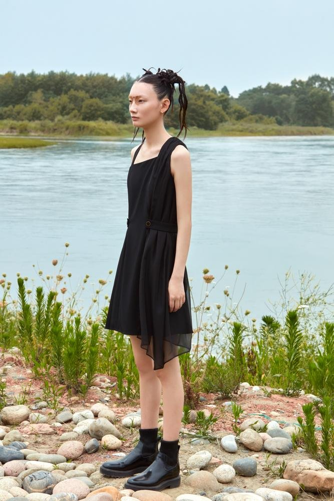 ASYMMETRICAL WAISTED DRESS - BLANCORE