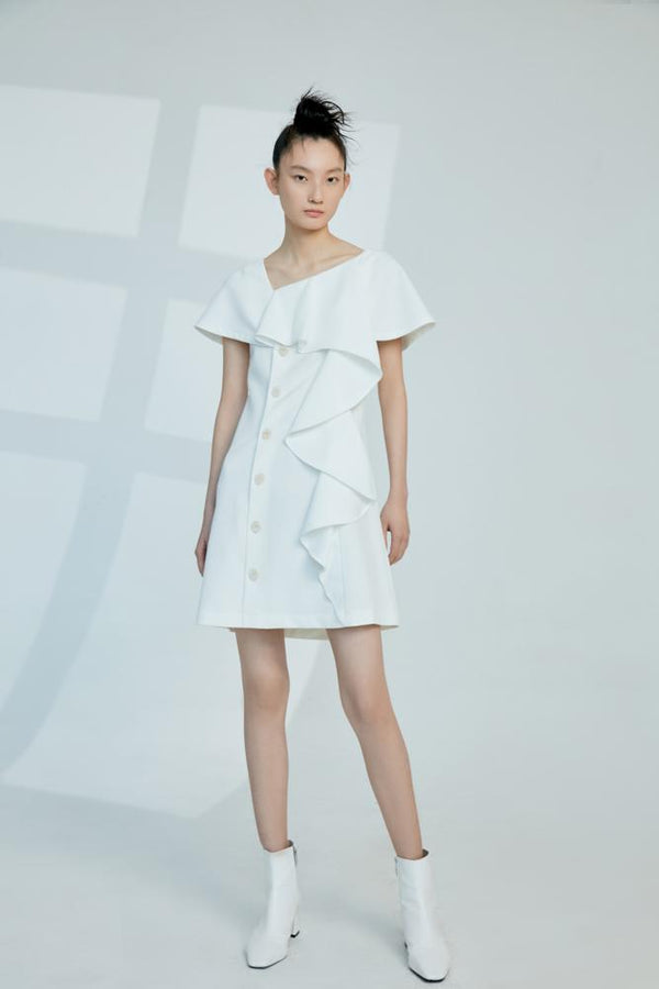 Cape Dress with Ruffle Detail - BLANCORE