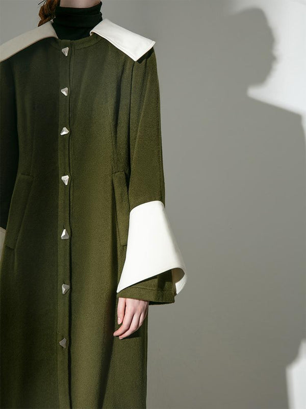 """Coat"" Dress With Color Block Lapel - BLANCORE"