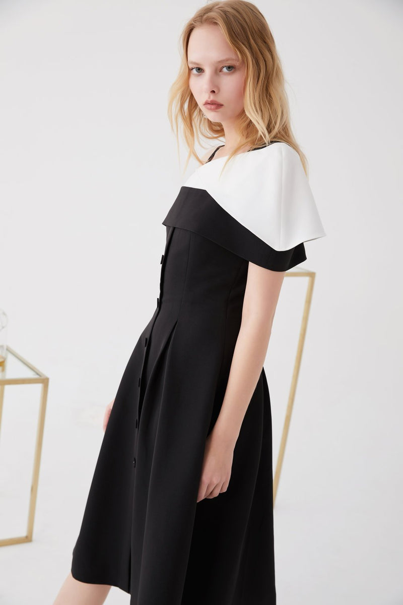 Color Block A-line Dress - BLANCORE