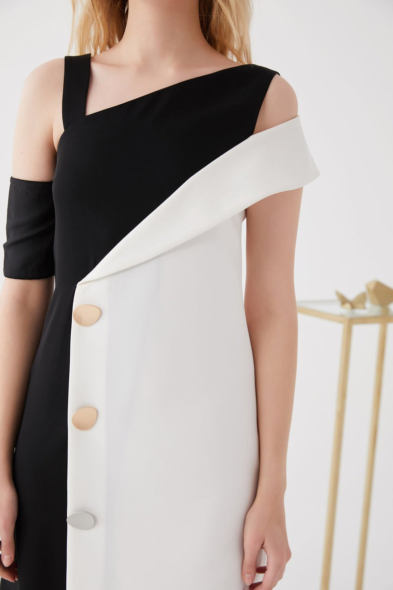 Color Block Dress with Button Details - BLANCORE