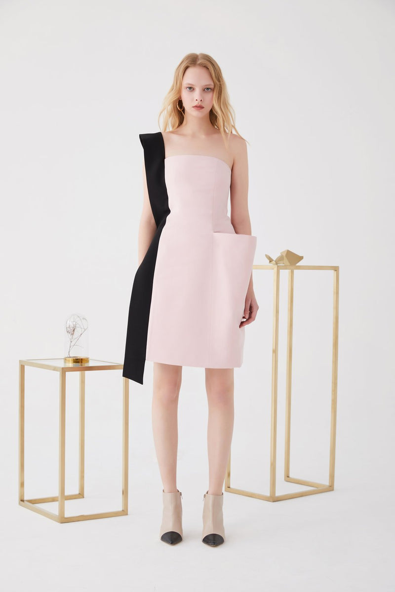 Color Block Dress with Large Pocket - BLANCORE