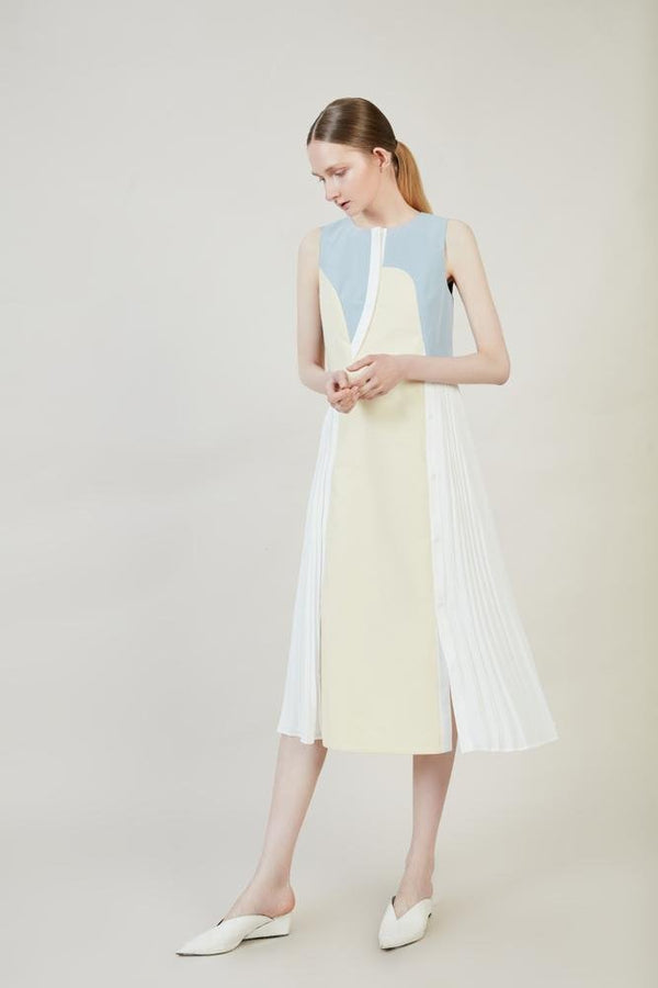 Color Block Dress With Pleats - BLANCORE
