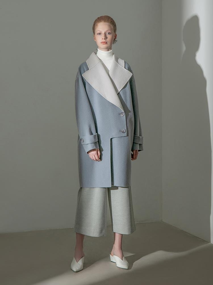 Color Block Lapel Wool Coat - BLANCORE