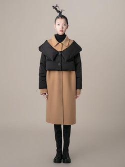 Color Block Overlaying Puffer Detail Coat - BLANCORE