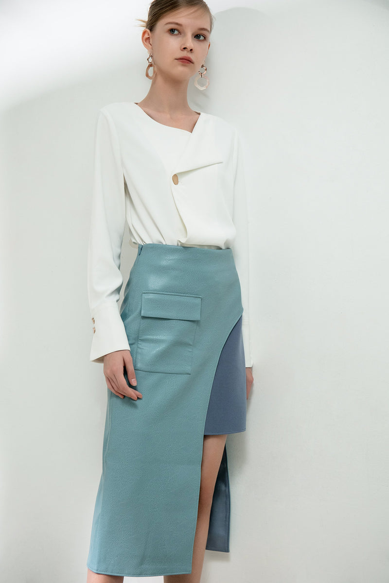 Color Block Panel Split Leather Skirt - BLANCORE