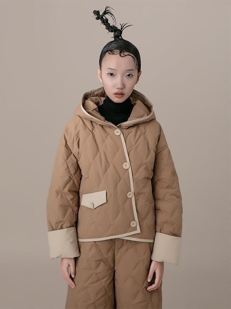 Color Block Puffer Jacket - BLANCORE