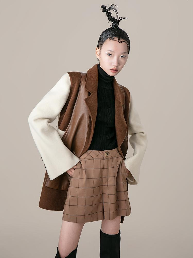Color Block Wool Blazer With Leather Panel - BLANCORE
