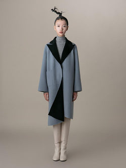 Color Block Wool Coat - BLANCORE