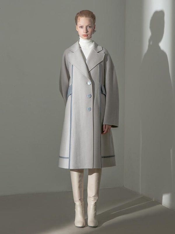 Color Block Wool Coat With Belt - BLANCORE
