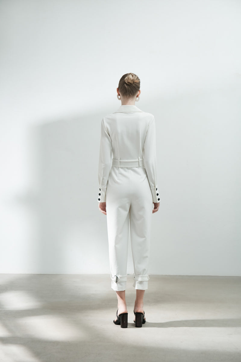 Contrast Top Stitch Jumpsuit With Belt - BLANCORE