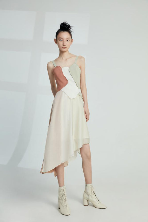D- Color Block Slip Dress - BLANCORE