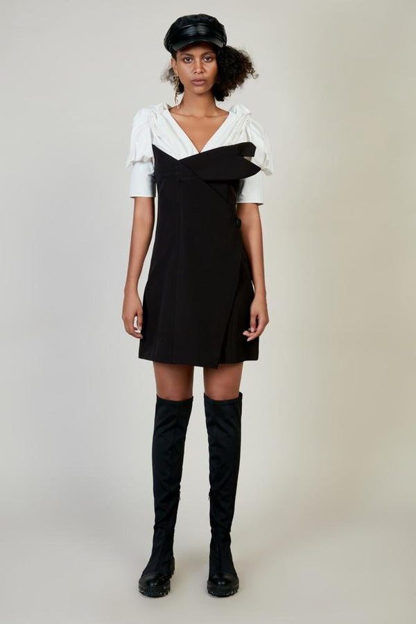 Deconstructed Color Block Ruching Dress - BLANCORE