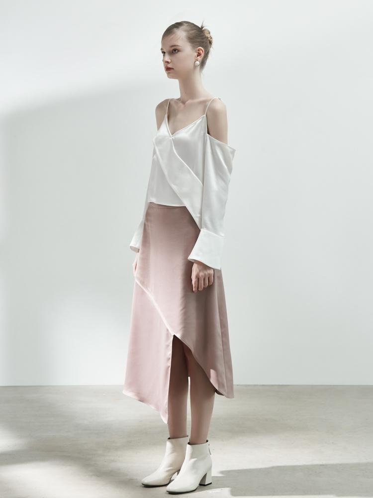 Deconstructed Satin Skirt - BLANCORE
