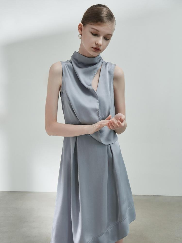 Deconstructed Standing Collar Dress - BLANCORE