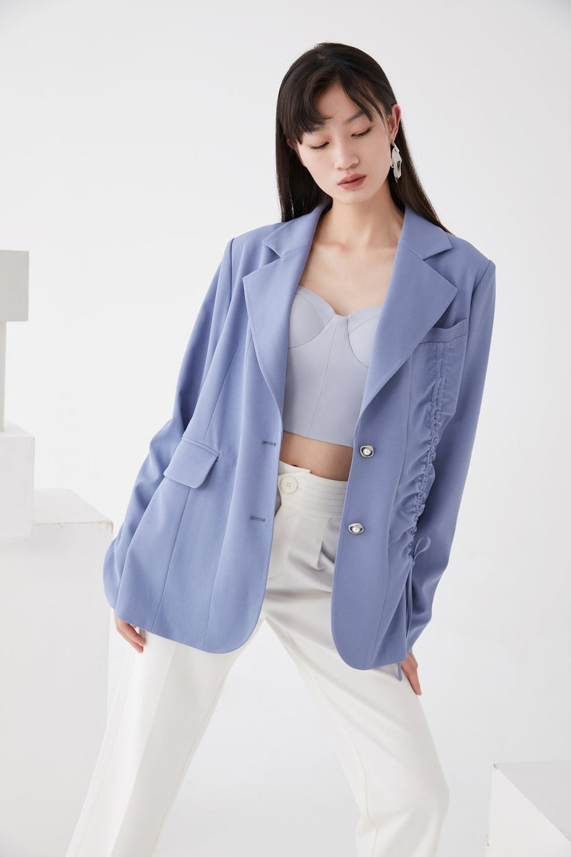 Draped Notch Lapel Blazer - BLANCORE