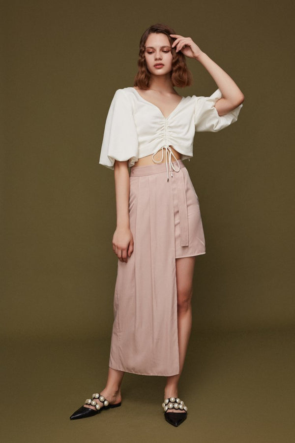 Draped Top with Puff Sleeve - BLANCORE