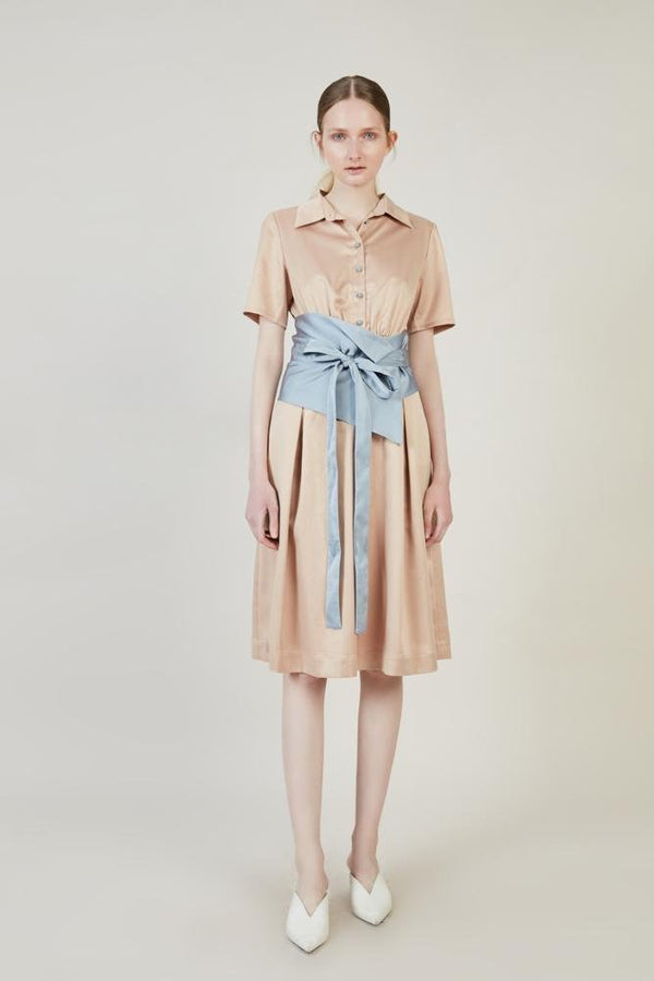 Dress With Color Block Belt - BLANCORE