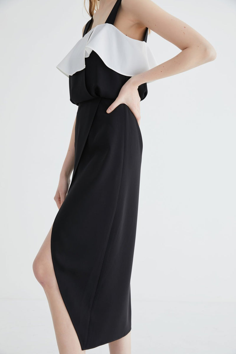 Dress with Color Block Lapel Detail - BLANCORE