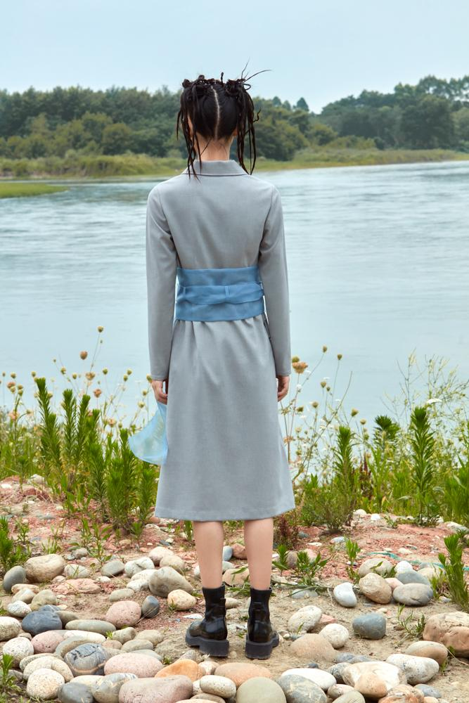 DRESS WITH ORGANZA BELT - BLANCORE