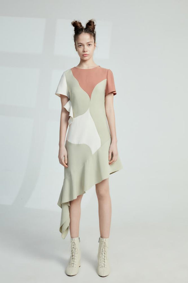 E- Color Block Dress - BLANCORE
