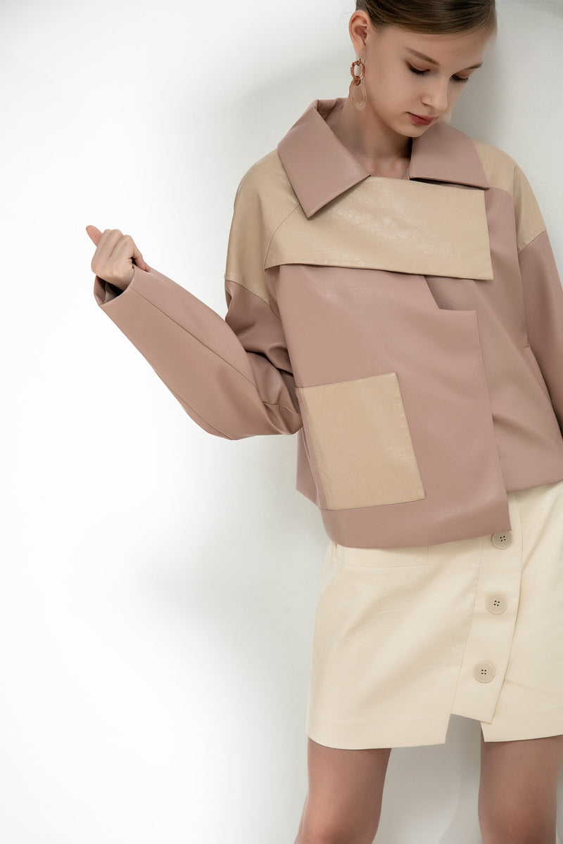 Geometric Color Block Leather Jacket - BLANCORE