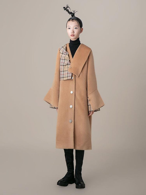 Geometric Paneled Wool Coat - BLANCORE