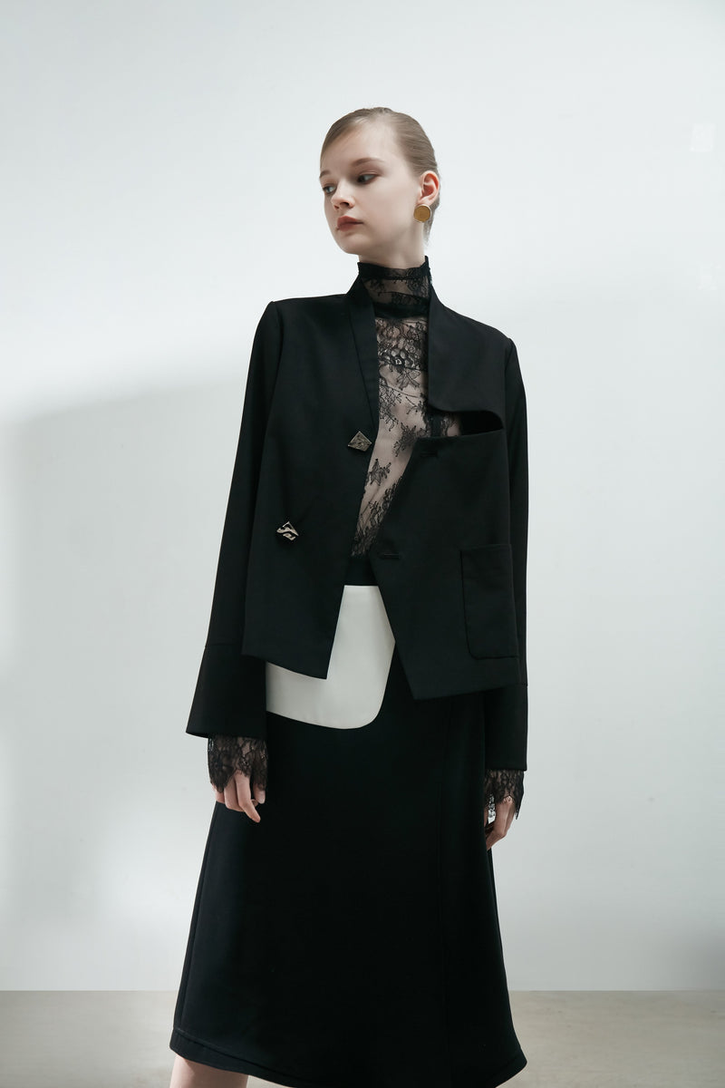 Jacket with Geometric Cutout Detail - BLANCORE