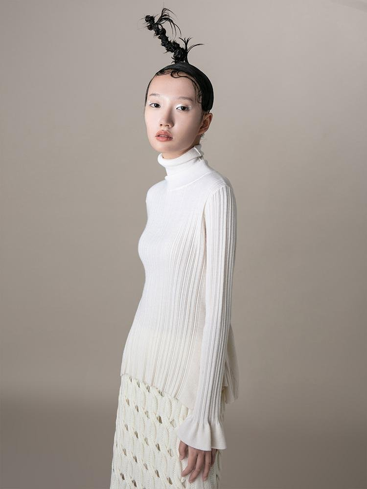 Knit Top With Ruff Sleeve - BLANCORE