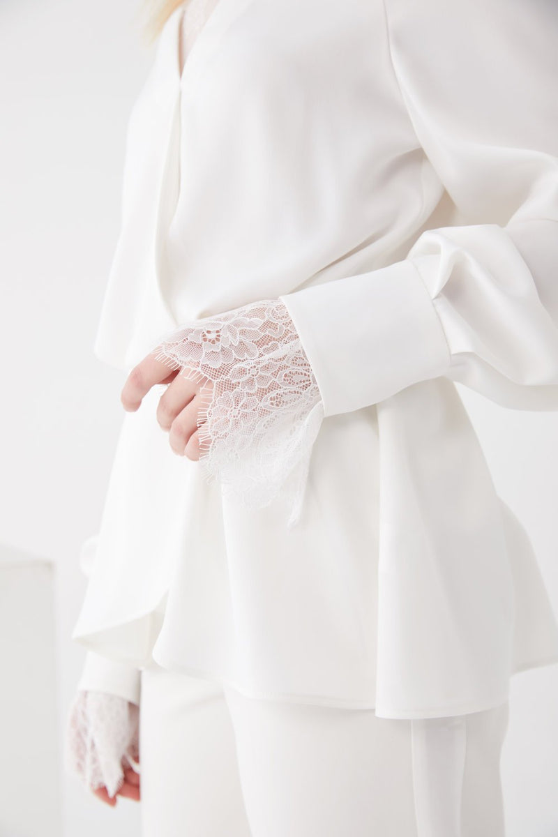Lace Paneled Double Layer Top - BLANCORE