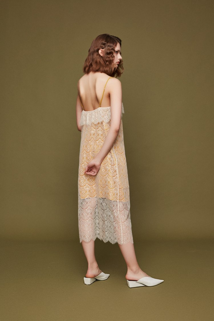 Lace Paneled Slip Dress - BLANCORE
