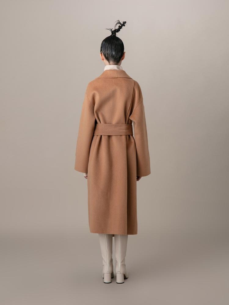 Lapel Coat With Metal Ring Belt - BLANCORE