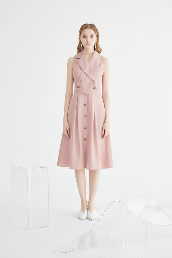 Lapel Collar A-line Dress - BLANCORE